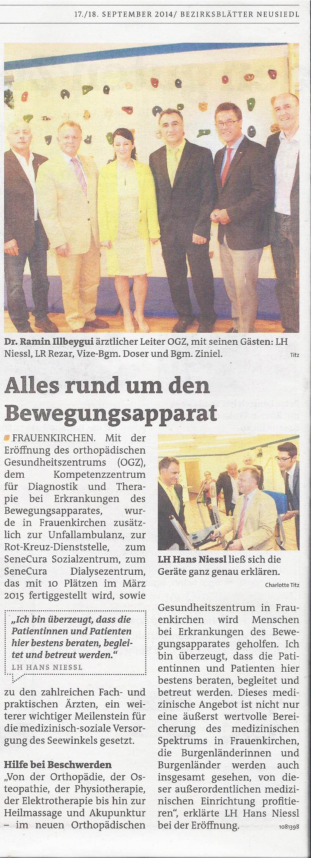 Bericht Bezirksblätter von September 2014